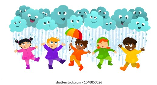 Vector illustration of kids play in the rain. Happy children have fun on rainy day, play togever. Friendship, childhood in rainy weather. Funy clouds with happy emotions.