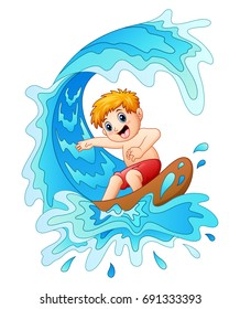 Vector illustration of Kids play surfing with big wave