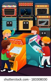 A vector illustration of kids playing arcade games