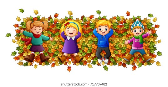 Vector illustration of Kids playing with autumn leaves