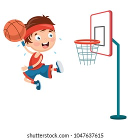 Vector Illustration Of Kids Playing Basketball