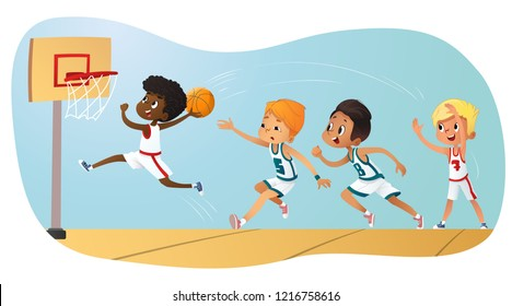 Vector Illustration Of Kids Playing Basketball. Team Playing Game. Team competition
