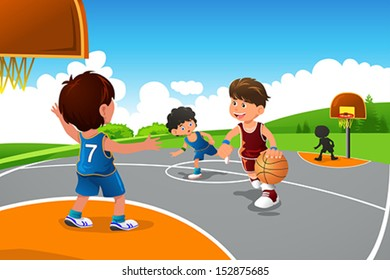 A vector illustration of kids playing basketball in a playground