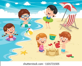 Vector Illustration Of Kids Playing At Beach and Sea