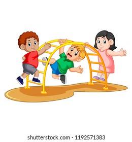 vector illustration of kids playing climbing metal monkey bar on backyard