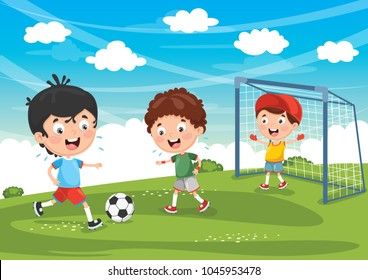 Vector Illustration Of Kids Playing Football