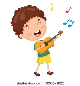 Vector Illustration Of Kids Playing Guitar