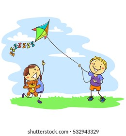Vector Illustration of Kids Playing Kite on Field
