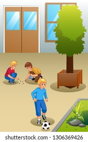 A vector illustration of Kids Playing Marbles and Soccer Outdoors