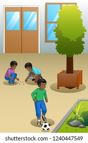 A vector illustration of Kids Playing Outdoors