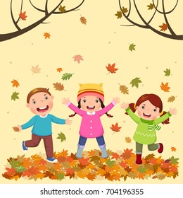 Vector illustration of kids playing outdoors in autumn