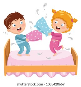 Vector Illustration Of Kids Playing Pillow Fight
