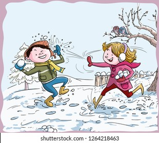 Vector illustration, kids playing with snowballs, cartoon concept.
