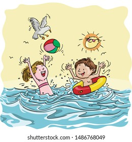 Vector illustration, kids playing in water, cartoon concept.
