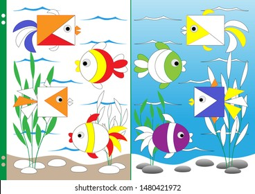 Vector illustration for kids to practice fine motor skills and attention. Pictures with geometric shapes in the underwater world by painting objects in mirror image. Worksheet for printing