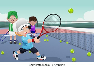 A vector illustration of kids practicing tennis