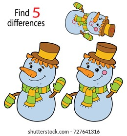 Vector illustration of kids puzzle educational game Find 5 differences for preschool children with snowman cartoon character