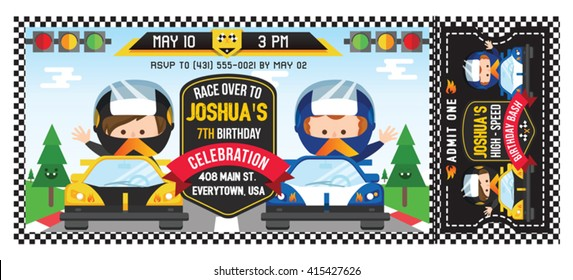 A Vector Illustration Kids in Race Car. Ticket invitation birthday. Racing Party.