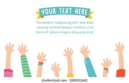 Vector Illustration Of Kids Raising Hands For Celebration