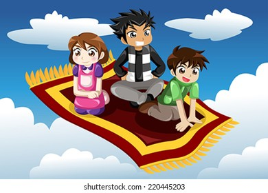 A vector illustration of Kids riding on a flying carpet