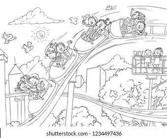 Vector illustration, kids in rollercoaster, coloring drawing, cartoon concept.