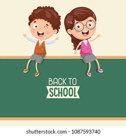 Vector Illustration Of Kids Sitting On Blank Board