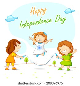 vector illustration of kids skipping and celebrating Indian Independence