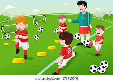 A vector illustration of kids in soccer practice