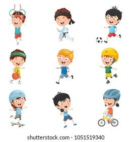 Vector Illustration Of Kids Sports