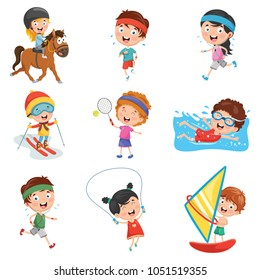 Vector Illustration Of Kids Sports
