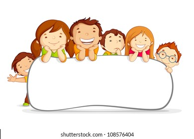 vector illustration of kids standing behind placard