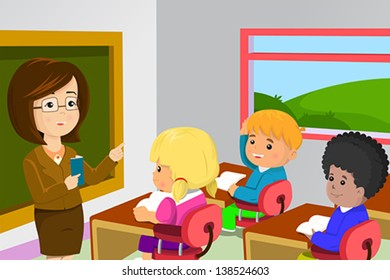 A vector illustration of kids studying in classroom with teacher