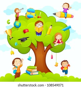 vector illustration of kids studying on tree with different education object