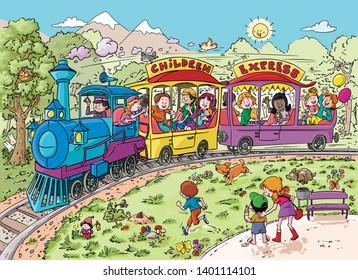 Vector illustration, kids in train, cartoon concept.