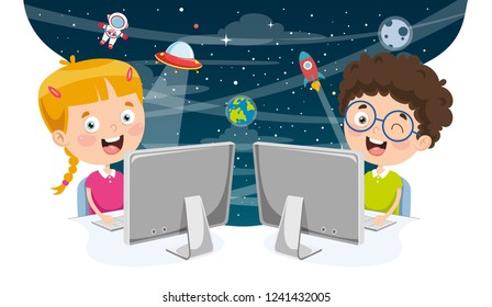 Vector Illustration Of Kids Using Computer