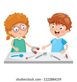 Vector Illustration Of Kids Using Magnet