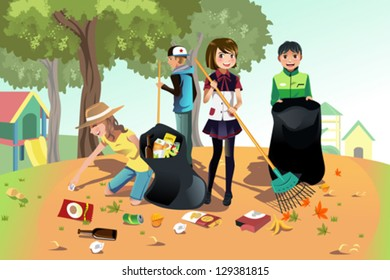 A vector illustration of kids volunteering by cleaning up the park