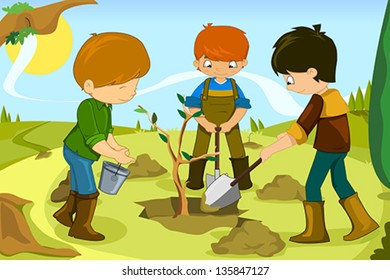 A vector illustration of kids volunteering by planting tree together