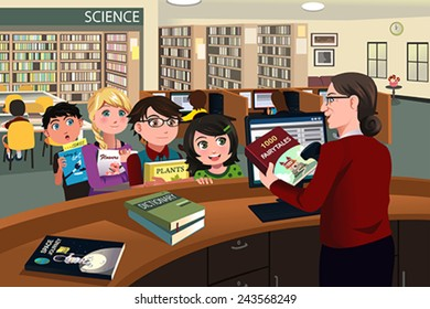 A vector illustration of kids waiting in line checking out books from the library