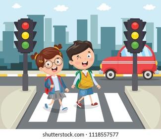Vector Illustration Of Kids Walking Across Crosswalk