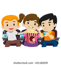 Vector Illustration of Kids Watching Movie while Eating Popcorn