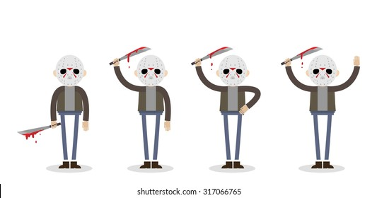 Vector illustration if the killer man from the Friday 13th. Man in jeans and jacket with machete standing in four different body positions.