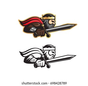 Vector illustration king with sword in motion forward mascot.