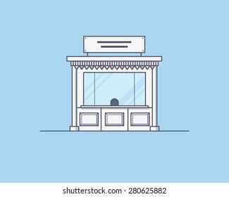 Vector illustration of a kiosk. Trading and market place concept. Illustration for print, web