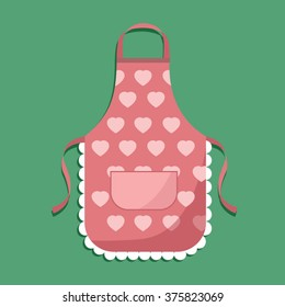 vector illustration. kitchen apron. pink apron hearts. vector image on a colored background.