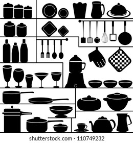 vector illustration of kitchen collection against isolated white background