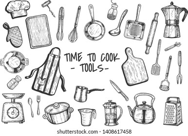 Vector illustration of the kitchen cooking tools and appliances. Cutting board, knife, grater, weights, french press, utencils, kettle, pan, pot, rolling pin, moka pot, apron, corcskrew, whisk, salt a
