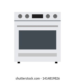 Vector illustration of kitchen gray gas stove. Flat design.