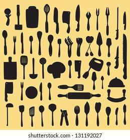 vector illustration of  kitchen utensil collection