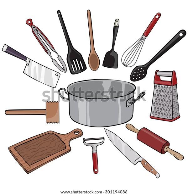 Vector Illustration Kitchen Utensils Cartoon Concept Stock Vector